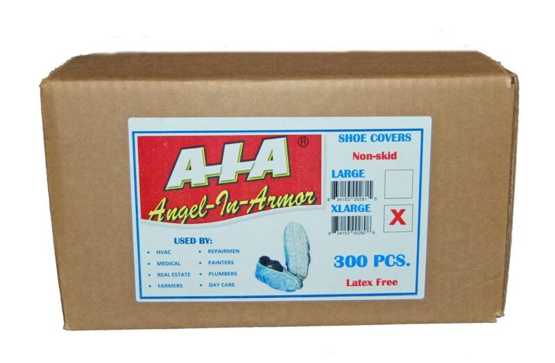 300 DISPOSABLE SHOE COVERS / NON-SKID/  Medical / A-I-A Angel-In-Armor-X-Large