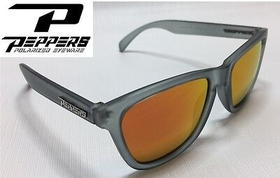 NEW Peppers 2-Step Grey Red Mirror Polarized Mens Sunglasses Msrp$35