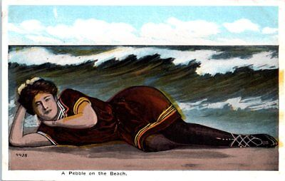 1920s Vintage Beach Postcard Old Style Full Bathing Suit Swimsuit Pebble on the](Old Fashion Suits)