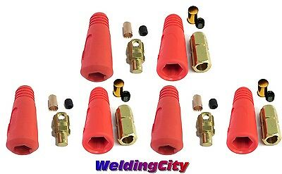 3-pk Welding Cable Twistlock Connector Set Red Dinse 10-30 50-70mm Us Seller