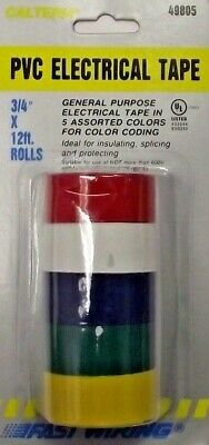 Calterm 49805 Pvc Electrical Tape 5 Asst. Colors 34 X 12 Rolls