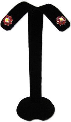 4.5h Black Velvet Earring Jewelry Display Top Stand Post Clip Hooks Earring A3b