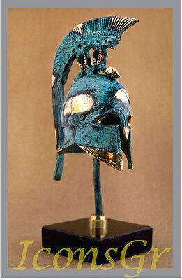 Ancient Greek Bronze Museum Replica Vintage Thespian Battle Helmet Snake Crest