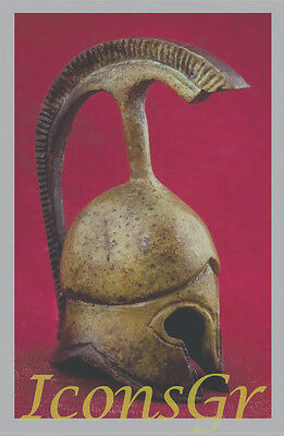 Ancient Greek Bronze Museum Replica Vintage Myrmidon Soldier Battle Helmet