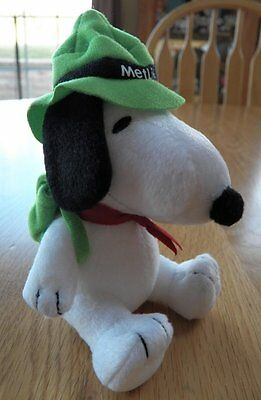 """2016 MetLife Peanuts Snoopy Plush Hiker Camper with Green Hat & Backpack 5"""" NEW"""