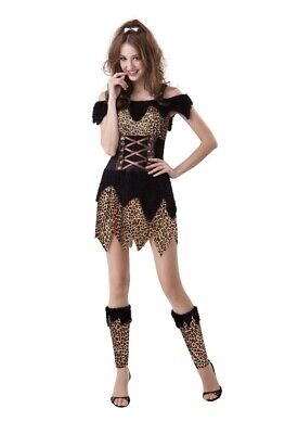Womens Leopard Halloween Costume (Womens Cave Woman Halloween Costume Tarzan Jane Dress Leopard Cat Velour)