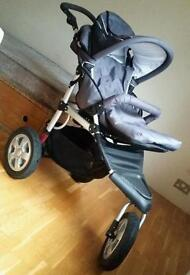 Stroller Pram Pushchair (with Shock absorbers) + Carry Cot - (Big Wheels) Good condition