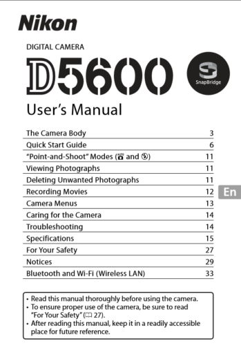 Nikon D5600 Digital Camera User's Manual Guide Book Brand New. Never Used