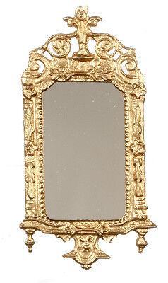 Light Gold Ornate Victorian Mirror, Dolls House Miniature, Wall Decor 1.12 Scale