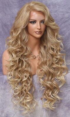 "40"" Human Hair Blend Mono Top Full Lace Front Wig Blonde Mix Heat OK WBPR 27-613"