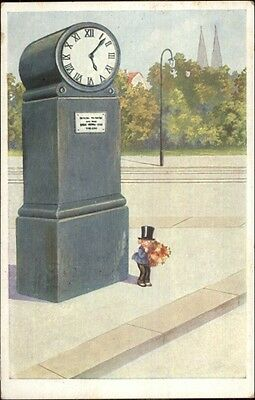 Tiny Child in Top Hat & Monocle - Giant Street Clock c1920s Postcard ()