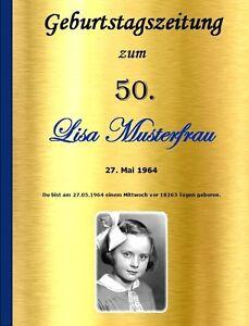 GEBURTSTAGSZEITUNG GOLD 18 20 30 40 50 60 70 JEDER Geburtstag Geschenk Zeitung