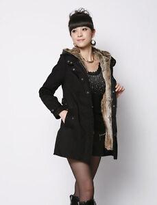 Women's Thicken Fleece Faux Fur Warm Winter Coat Hood Parka Overcoat Long Jacket