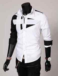 Luxury Mens Designer Long Sleeve Casual Dress Shirt Slim Fit T-Shirts Tee Tops