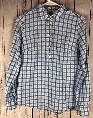 Vineyard Vines Women's  Green and Blue Multi Gingham Pop Over Shirt Size 2 (Green Gingham)