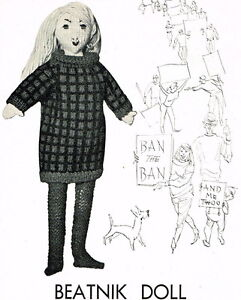 Beatnik-doll-vintage-knitting-pattern-rare-unusual-1960s-repro-free-UK-postage