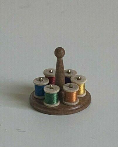 David Edwards Sewing Spool Stand & 6 Reels, Vintage UK Artisan Miniature 1:12