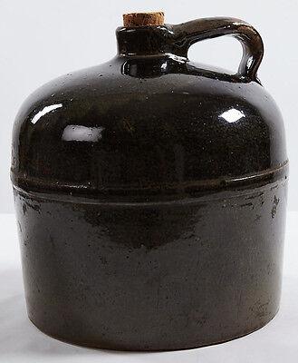 Vintage Ceramic Moonshine Jug BROWN Salt Glaze Crock Large Round Handle & Cork