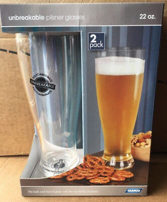 NEW Camco 22 oz Polycarbonate Pilsner Glass 2-Pack 43891 Polycarbonate Pilsner Glass