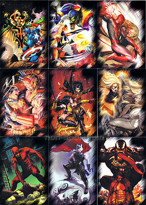 MARVEL HEROES AND VILLAINS SET OF 81 CARDS
