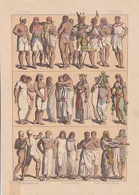 Ägypter Ägypten Könige Königinnen LITHOGRAPHIE von 1883