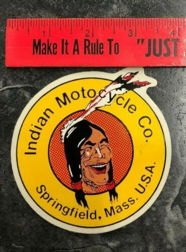 VINTAGE STICKER/DECAL Indian Motorcycle Company Springfield Massachussetes USA
