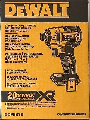 "DeWalt DCF887 DCF887B 20V MAX XR BRUSHLESS 1/4"" 3 SPEED IMPACT *NEW IN A BOX!!!"