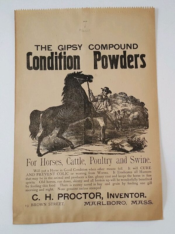 Vintage Gipsy Compound Horse Condition Powder Store Paper Bag Advertising NOS