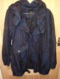 River Island Ladies Navy Shimmer Coat/Jacket Size 8 Nearly New