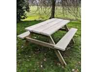 Picnic Bench, 1.8m/6ft Handmade, Heavy Duty Central Park Pub Style