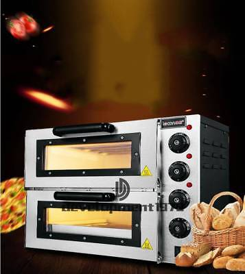 New 16 3000w 110v Double Deck Electric Pizza Oven Commercial Ceramic Stone