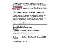 £59 each 2 SEATED BEYONCE TICKETS. JUN 30th CARDIFF PRINCIPALITY STADIUM. GREAT SEATS