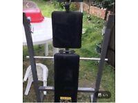 Weights bench bar dumbbells