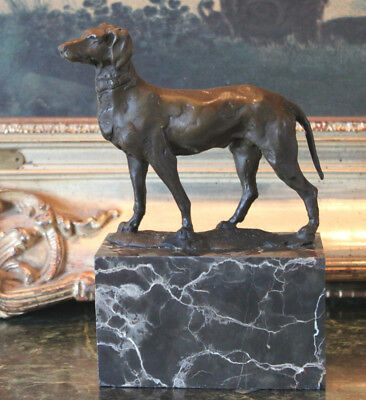 Weimaraner German Dog Hunting Fox Boar Deer Grey Ghost Bronze Marble Statue Gift