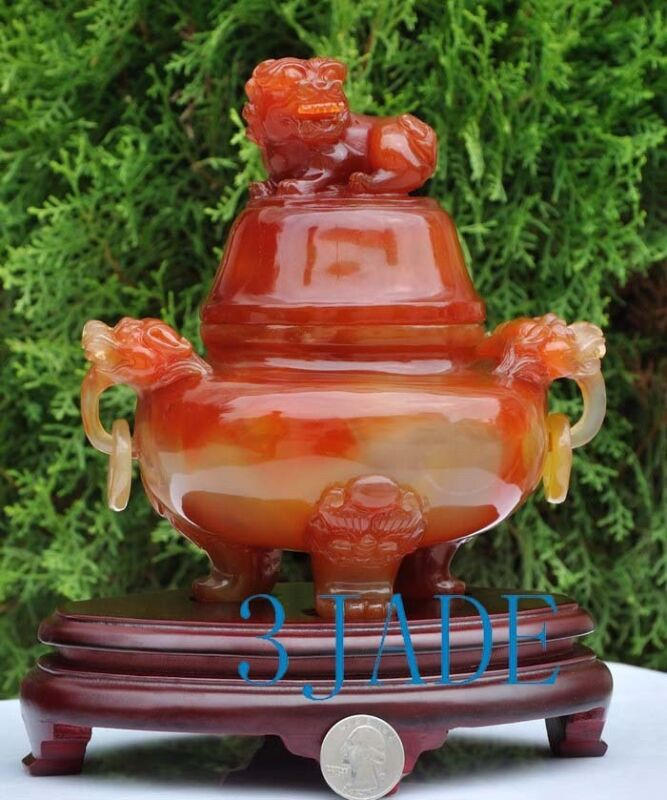 """9"""" Carnelian / Red Agate Chinese Lion Foo Dog Censer / Incense Carving Sculpture"""