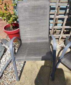 4x armchairs matt steel grey garden chairs as new condition