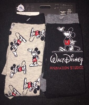 Walt Disney Studios Lot Collection Mickey Mouse 2 Pairs Ladies Xss Socks New