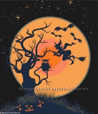 Witch, Bats, Pumpkins, Owl ~ Halloween ~ DIY Counted Cross Stitch - Witch Pumpkins