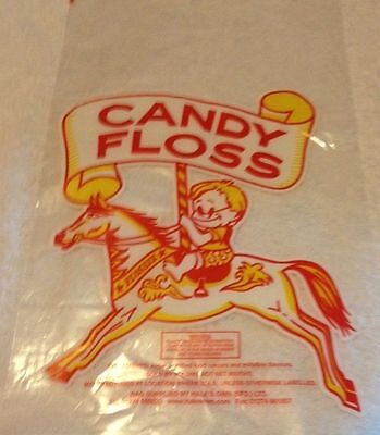 """100 CANDY FLOSS BAGS~CAROUSEL HORSE~11""""x18"""" PLUS 100 Free Bag TIES~FREE POSTAGE"""
