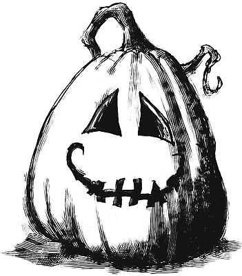 P5  Scary Halloween Pumpkin rubber stamp WM 2.75x2.5