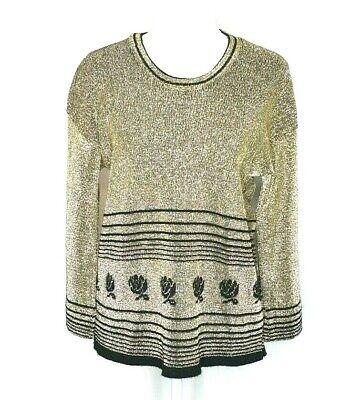 80s Sweatshirts, Sweaters, Vests | Women Vintage Gold Lurex Floral Bell Sleeve Jumper Top Size 16 $29.68 AT vintagedancer.com