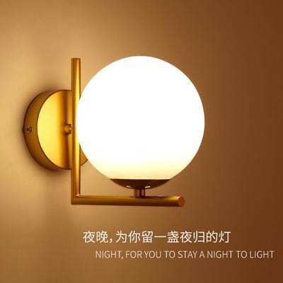 White Glass Wall (Postmodern White Globe Glass Wall Lamp LED Single Light Indoor Bedroom Sconce )