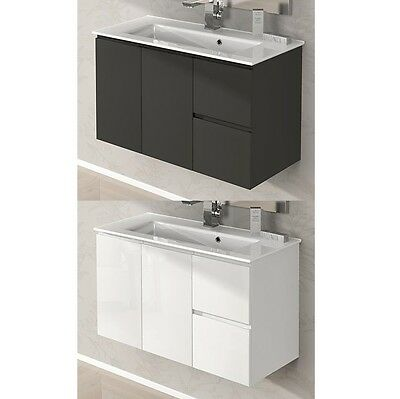 Móvil muebles de baño 80 100 lavado cerámica blanco brillante gris talpa...