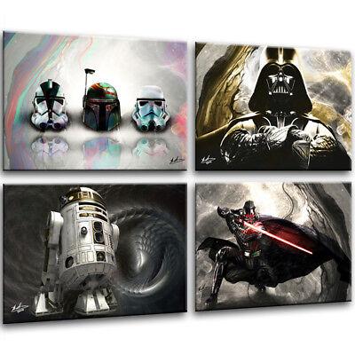 4x Bilder Star Wars Bild auf Leinwand Kunst - Star Wars Auf