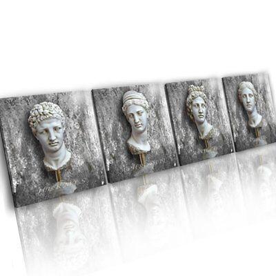 4 x GRIECHISCHE GÖTTER SKULPTUREN BILDER AUF LEINWAND WANDBILD KUNST XXL 916A