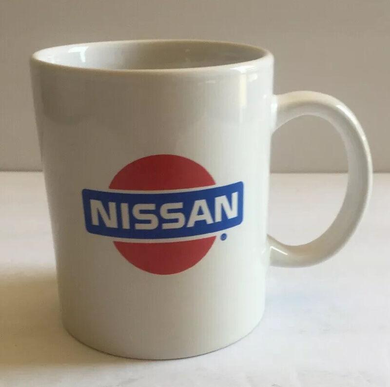 Vtg Nissan Logo Coffee Mug Red Blue Classic 1980s Emblem 80s