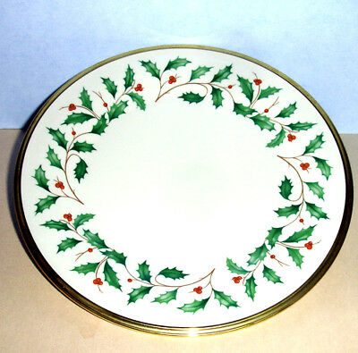 - Lenox Holiday Salad Dessert Plate Gold Banded Ivory China 8