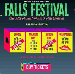 2 X Falls Festival Lorne Tickets 3 Days with Camping Passes Pascoe Vale South Moreland Area Preview