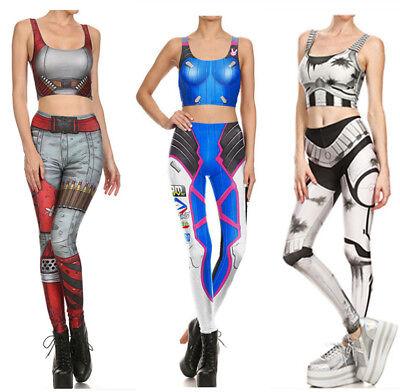 Womens Ladies Fitness 3D Superwoman Cosplay Costume Yoga Sport Vest Leggings Set (Sports Costumes For Women)