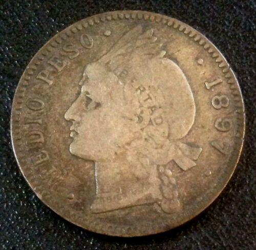 1897-A Dominican Republic 1/2 peso 12.5  Gms Silver Coin